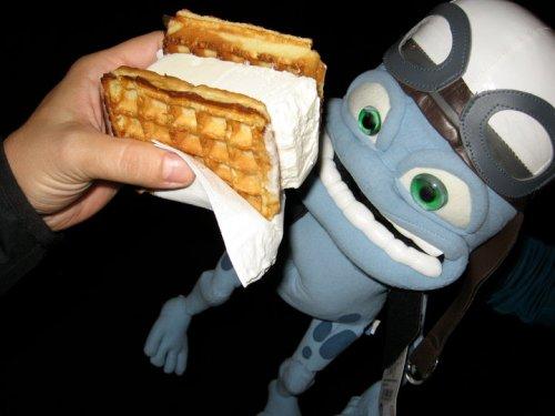 Waffle ice cream sandwich photobomb
