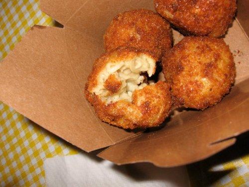 Deep fried mac 'n' cheese innards