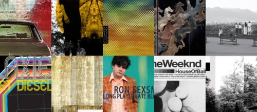 The album covers of the 10 short list Polaris albums