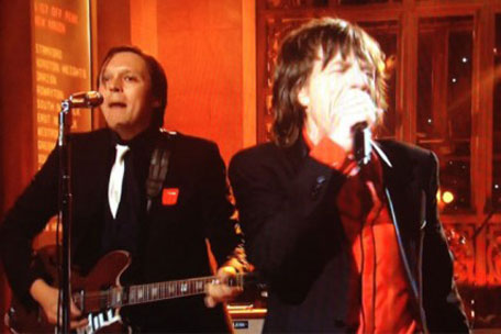 Arcade Fire red patched with Mick Jagger