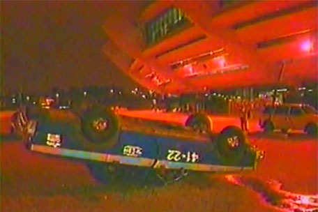 Police car flipped during the Montreal Gn'R riot.