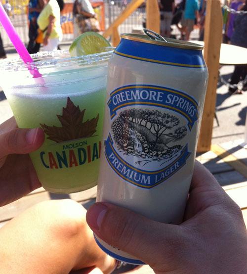 Frozen Margarita and Creemore beer