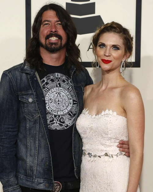 Dave Grohl shows off his Children shirt on the 2015 Grammy red carpet.