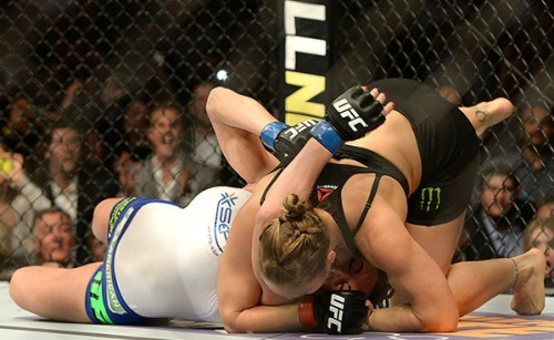 Rousey about to make Zigano tap.