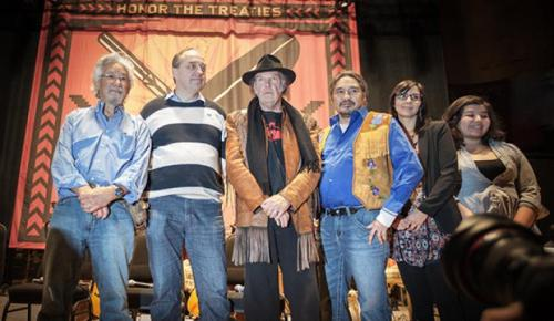 Neil Young (centre) at last January's Honour the Treaties press conference, Massey Hall, Toronto — photo credit: Dustin Rabin.
