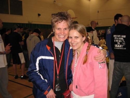 Sarah and her mom at a jiu-jitsu tournament.