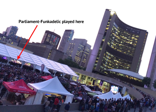 View of George Clinton & Parliament-Funkadelic set at Nathan Phillips Square