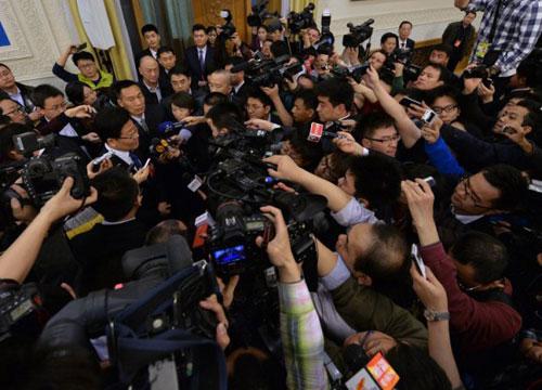 A media press scrum