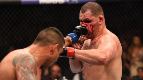 Fabricio Werdum punches Cain Velasquez