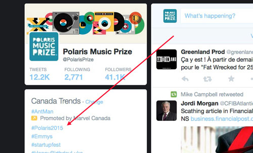 The red arrow points to 'Polaris2015' trending second in Canada
