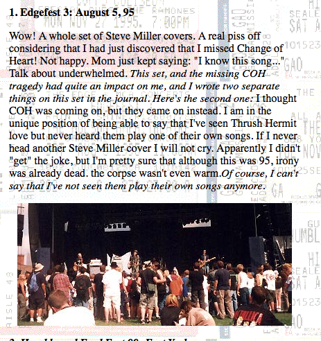 My initial review of the set, from a terrible personal site I made in 1999.