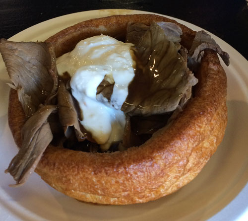 Eat My Bowl Roast Beef In A Bowl. It was just slightly gristly roast beef and gravy in a bread bowl. With some mild horseradish sauce. Meh. 6/10
