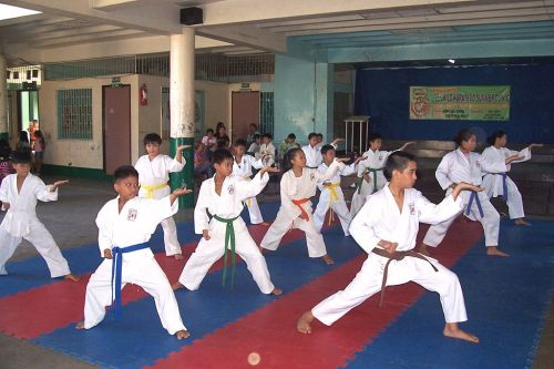 Children training martial arts