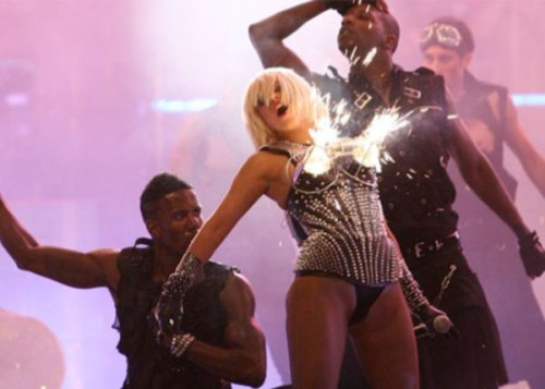Lady Gaga's exploding boobs at the 2009 MMVAs.
