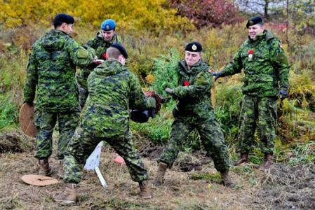 Canadian military plant trees along the Highway Of Heroes