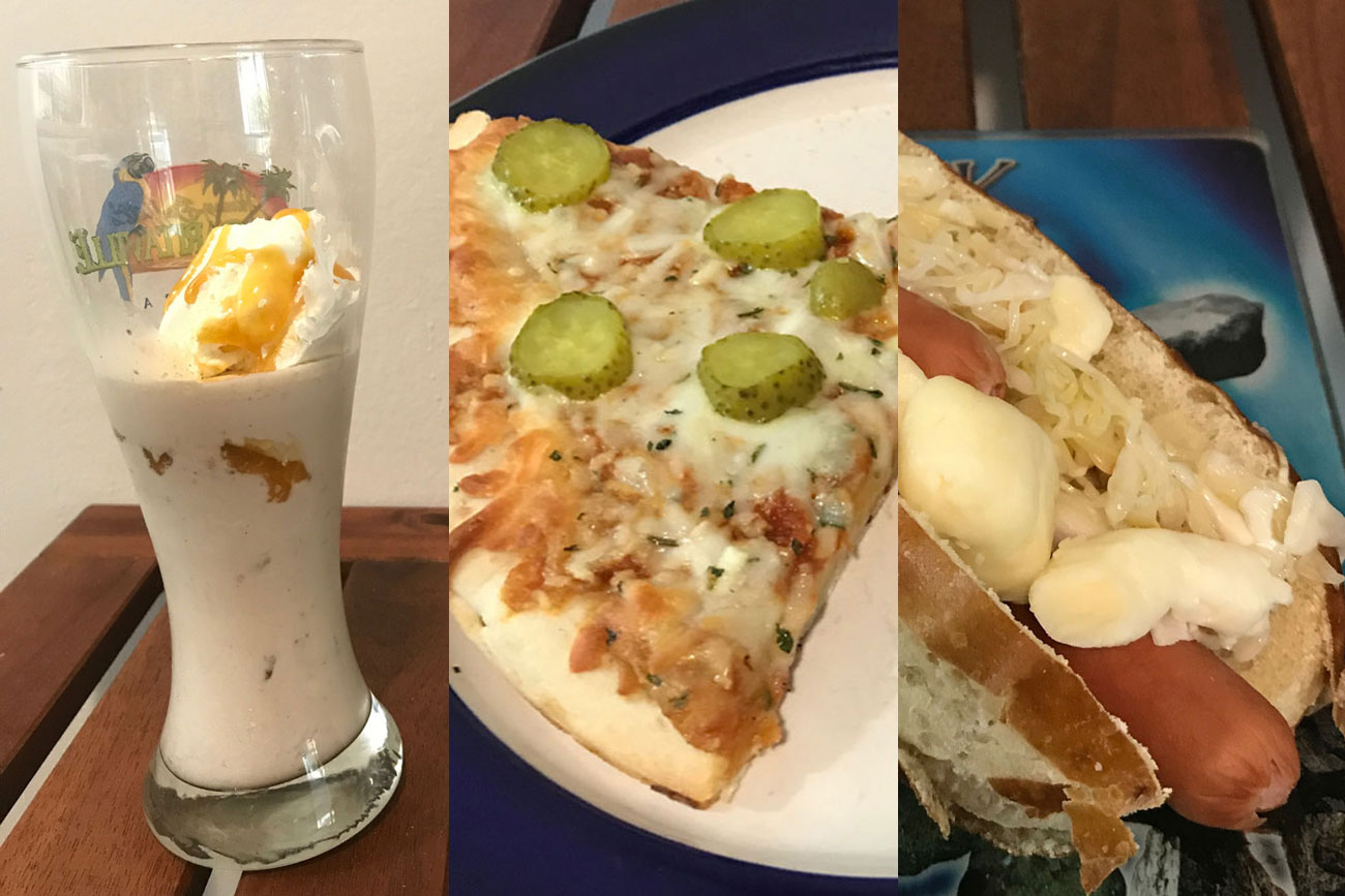This is a split image of three stunt foods prepared at home instead of eaten at the Canadian National Exhibition, which was cancelled due to COVID-19.